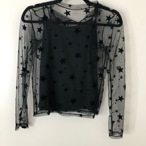 Sheer black top with stars